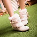 Ladies Womens Girls White Fur Trim with Side Bow Flat Ankle Boots